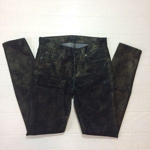 7FAMK Black Shimmer Skinny Stretch Jeans Womens 24